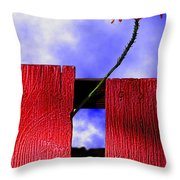 Flora And The Red Fence Throw Pillow