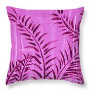 Flora Fauna Tropical Abstract Leaves Painting Magenta Splash By Megan Duncanson Throw Pillow