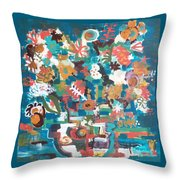 Floral Abstract Still Life Throw Pillow