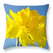 Floral Art Bright Yellow Daffodil Flowers Baslee Troutman Throw Pillow