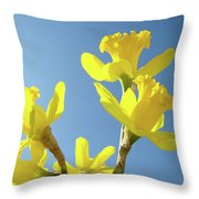 Floral Art Daffodil Flowers Spring Prints Blue Sky Baslee Troutman Throw Pillow
