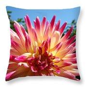 Floral Art Pink Yellow Dahlia Flower Baslee Troutman Throw Pillow