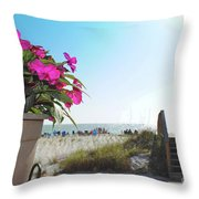 Floral Beach Throw Pillow