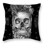 Floral Beard Skull 3 Throw Pillow