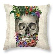Floral Beard Skull Throw Pillow