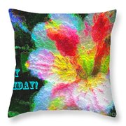 Floral Birthday Card Throw Pillow