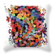 Floral Bouquet Abstract With Dots Throw Pillow
