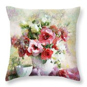 Floral Bouquet Table Setting In Tiny Bubbles Throw Pillow