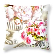 Floral Bouquets Pink Roses  Throw Pillow