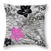 Floral Chirimen Throw Pillow