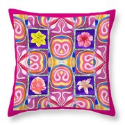 Floral Collage Daffodil Hibiscus Poppy Lily Throw Pillow