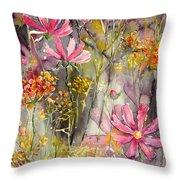 Floral Cosmos Throw Pillow