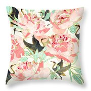 Floral Cranes Throw Pillow