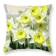 Floral Daffodils Garden Art Prints Floral Bouquet Baslee Troutman Throw Pillow