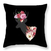 Floral Deer On Black Throw Pillow