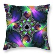 Floral Fractal Art Jewel Tones Vertical Throw Pillow