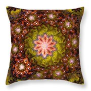 Floral Fractal Wreath  Throw Pillow