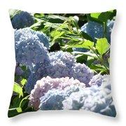 Floral Garden Art Prints Blud Hydrangea Flowers Throw Pillow