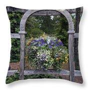 Floral Garden View Throw Pillow