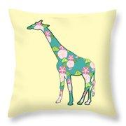 Floral Giraffe Throw Pillow