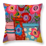 Floral Happiness Throw Pillow