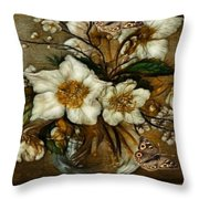 Floral In Glass Vase Throw Pillow