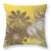 Floral In Gold And Yellow Throw Pillow