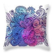 Blue Floral Indian Pattern Throw Pillow
