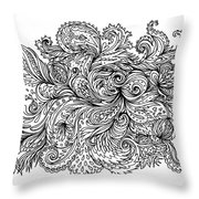 Black And White Floral Indian Pattern Throw Pillow