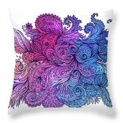 Lilac Floral Indian Pattern Throw Pillow