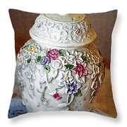 Floral Jar Throw Pillow