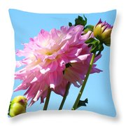 Floral Landscape Art Print Pink Dahlia Flower Blue Sky Canvas Baslee Troutman Throw Pillow