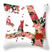 Floral Minimalist Style Cat, Tree And Birds Throw Pillow