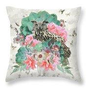 Floral Owl Throw Pillow