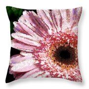Floral Pink Creative Fragmented In Thick Paint Throw Pillow