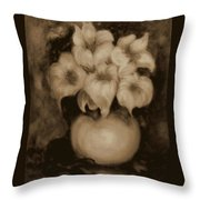 Floral Puffs In Brown Throw Pillow