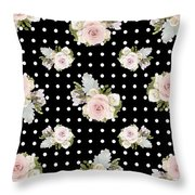 Floral Rose Cluster W Dot Bedding Home Decor Art Throw Pillow