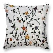 Floral Satin Throw Pillow