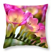 Floral She Sparkles Throw Pillow