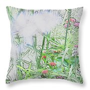 Floral Sketch Throw Pillow