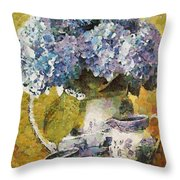 Floral Table Onset In Tiny Bubbles Throw Pillow