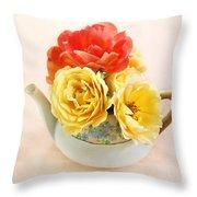 Floral Tea Throw Pillow