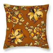Floral Textile Design Throw Pillow