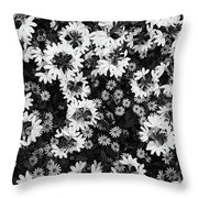 Floral Texture In Black And White Throw Pillow
