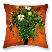 Floral Wall Arrangement Throw Pillow