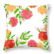 Floral Watercolor Border  Throw Pillow