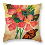 Floral With Butterfly Throw Pillow