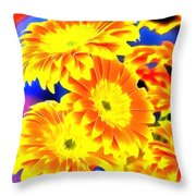 Floral Yellow Painting Lit Throw Pillow