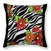 Floral Zebra Print Throw Pillow