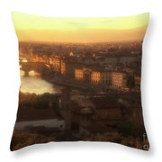 Florence And The Ponte Vecchio Dusk, Tuscany, Italy Throw Pillow